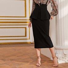 Zipper Back Split Hem Peplum Skirt
