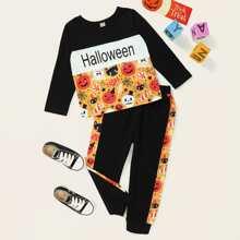 Toddler Boys Halloween Print Tee & Sweatpants