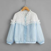 Girls Frill Trim Zipper Fly Two Tone Jacket