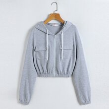 Solid Zip Up Pocket Hooded Sweatshirt