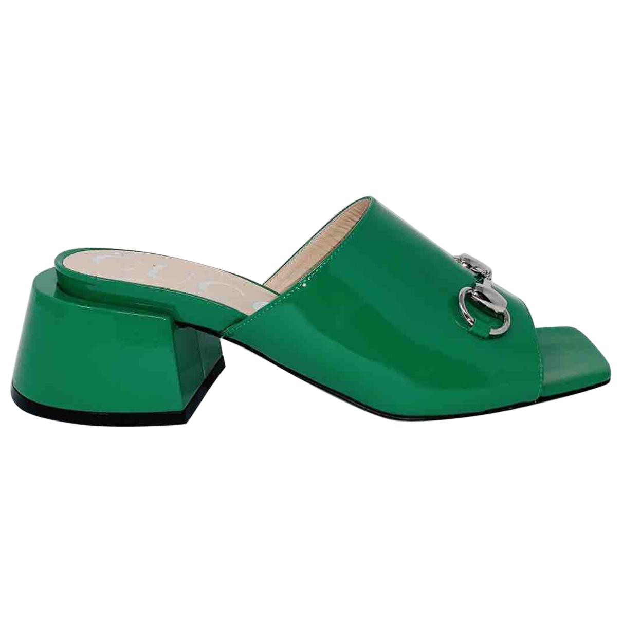 Gucci - Sandales   pour femme en cuir verni - vert