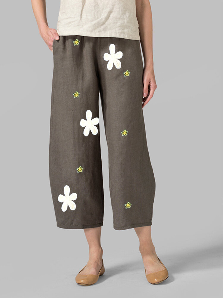 Printed Daisy Floral Elastic Waist Pocket Pants For Women