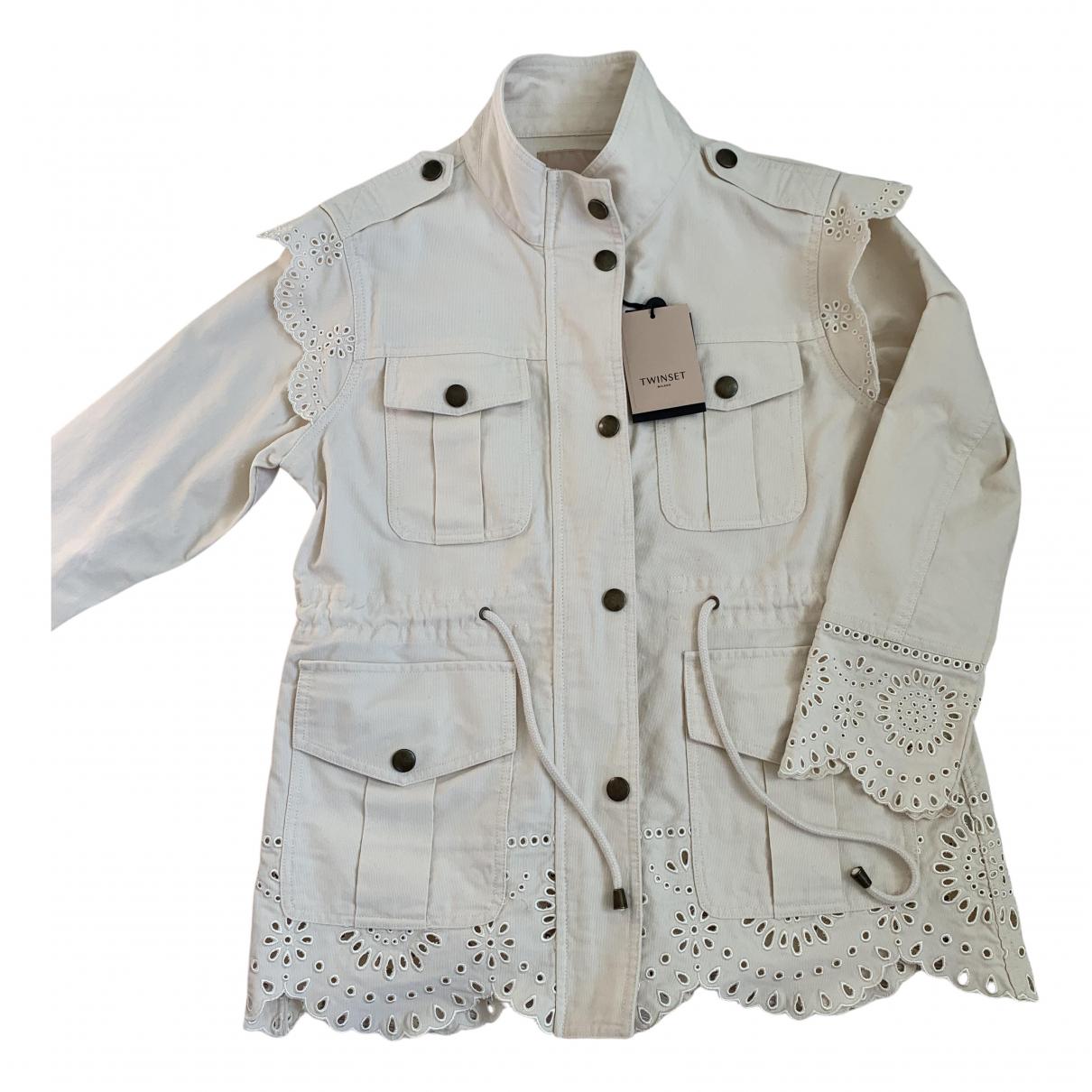 Twin Set N Ecru Cotton coat for Women 40 IT