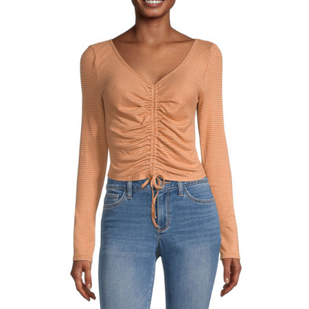 Arizona Juniors-Womens V Neck Long Sleeve T-Shirt, Xx-large , Brown
