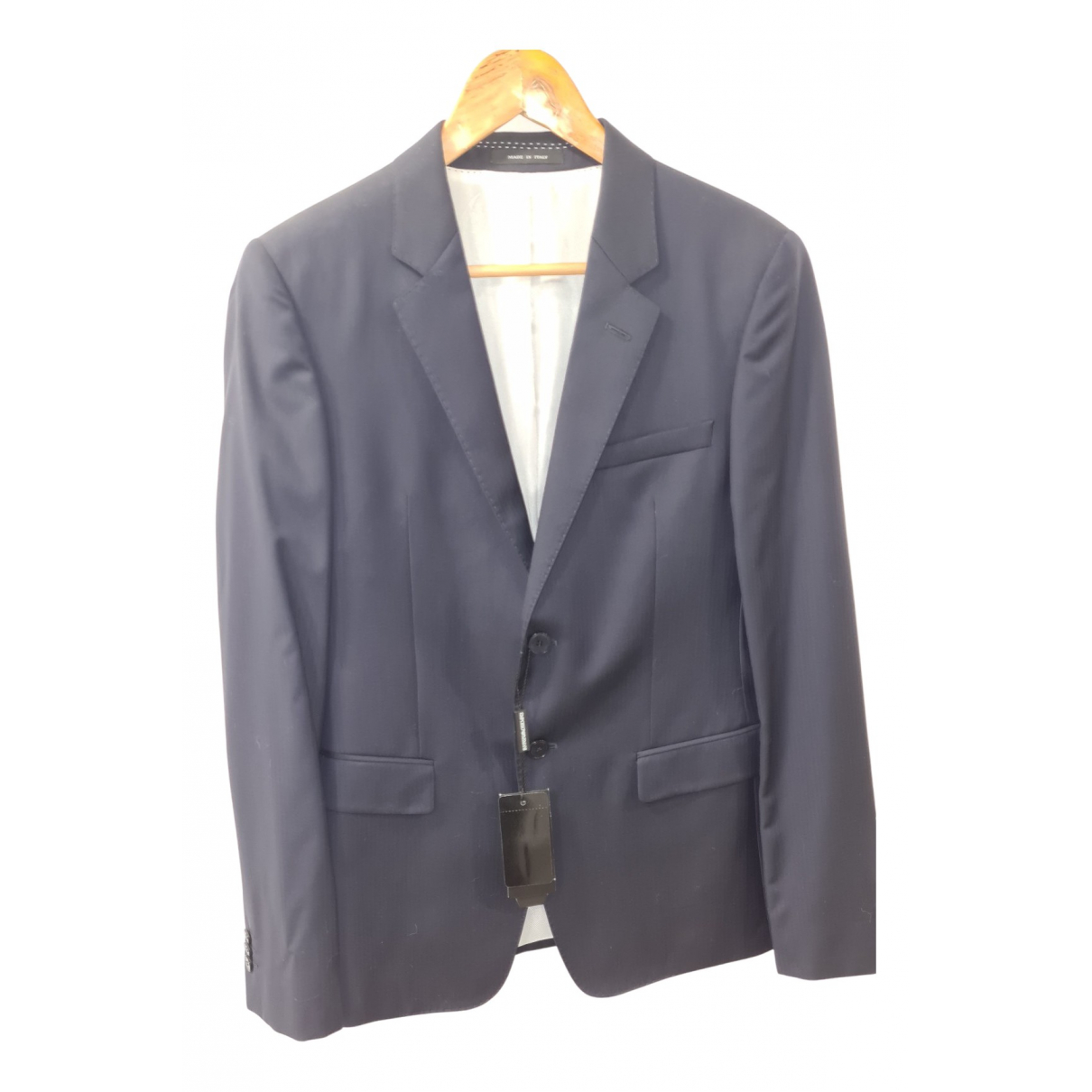Emporio Armani N Blue Wool Suits for Men 46 IT