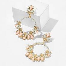 Flower Decor Gemstone Hoop Drop Earrings 1pair
