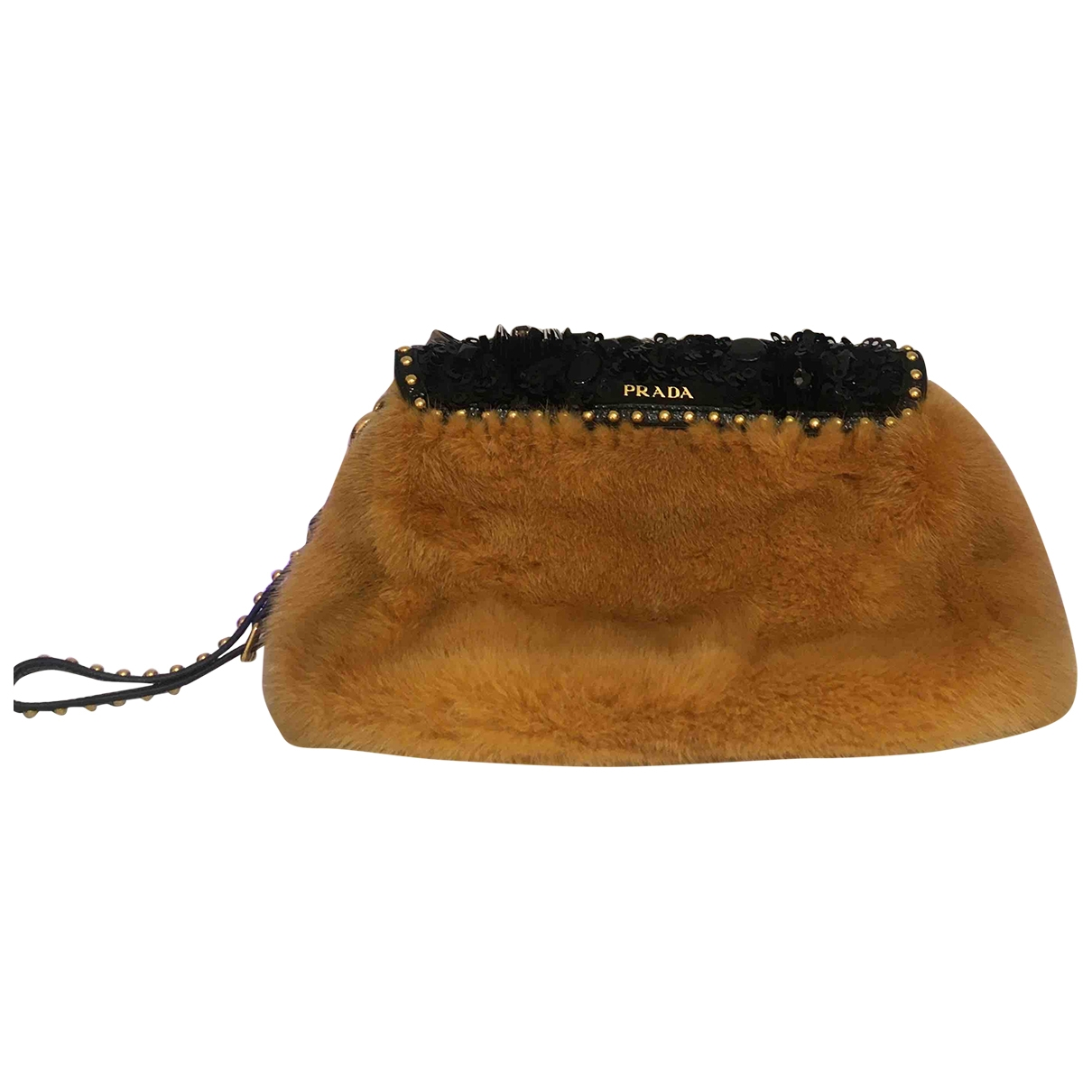 Prada \N Yellow Mink Clutch bag for Women \N