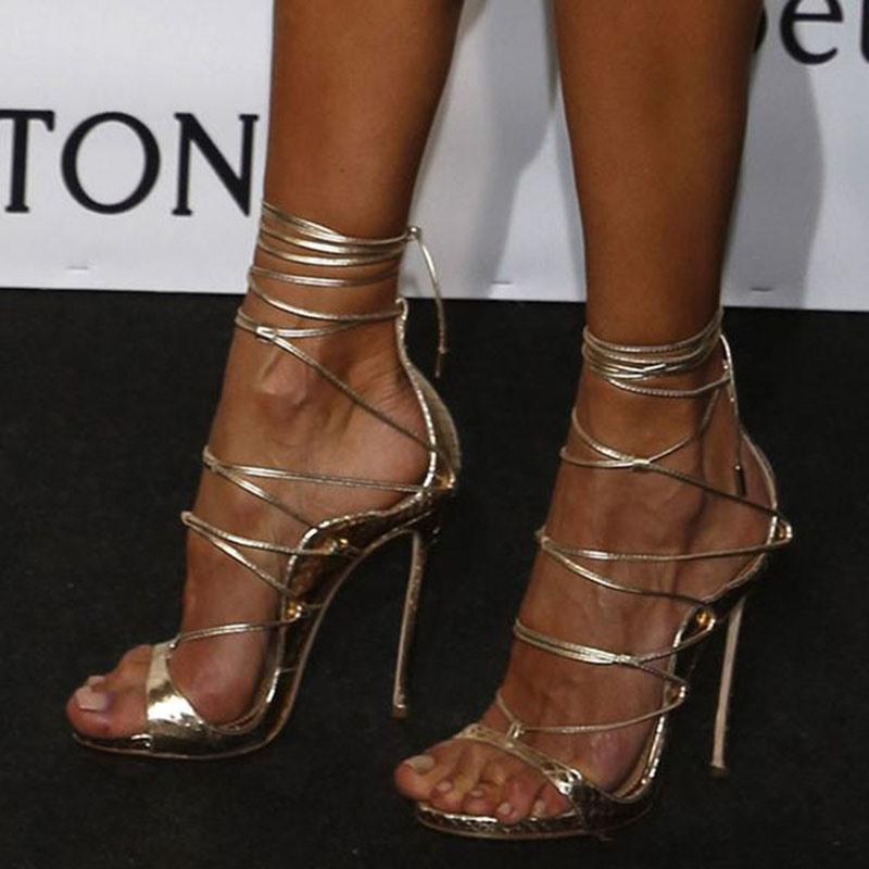 Ericdress Silver Cross Strap Stiletto Heel Sandals