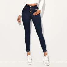 High Waist High Stretch Rolled Hem Jeans
