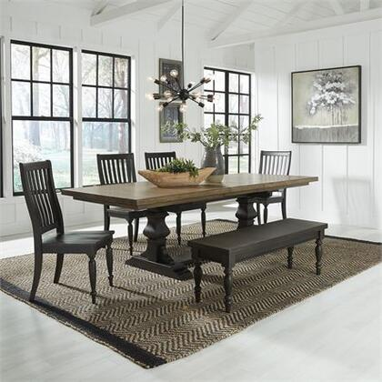 Harvest Home Collection 879-DR-6TRS 6PC Trestle Table Set with One 20 Inch Self-Storing Leaf  Slat Back Wood Seat Chairs and Easy Glide Leaf System