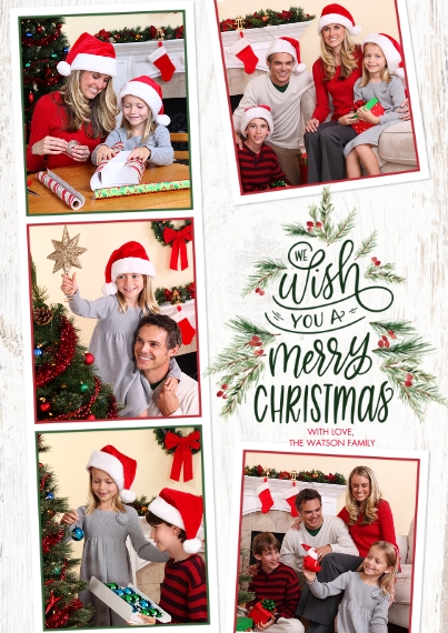 Christmas Photo Cards Flat Matte Photo Paper Cards with Envelopes, 5x7, Card & Stationery -Christmas Tree Berries by Tumbalina