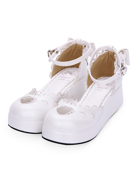 Milanoo Sweet Lolita Shoes Sweetheart Cut Out Bow Ankle Strap White Lolita Footwear