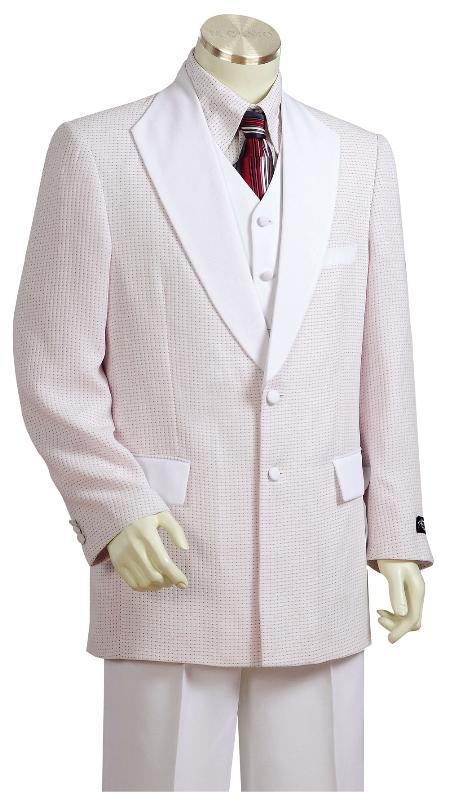 3 Piece White 2 Button Zoot Suit Mens