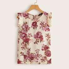 Plus Ruffle Trim Floral Print Top
