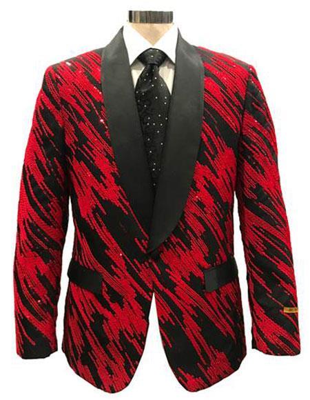Mens Black ~ Red One Button Blazer