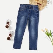 Girls Bleach Dye Skinny Jeans