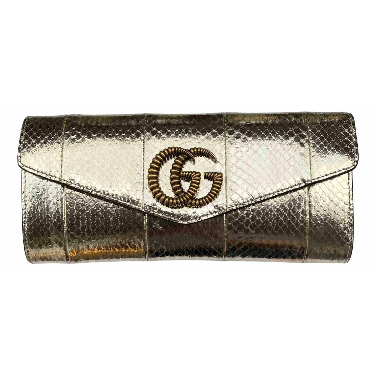 Gucci Marmont Gold Water snake Clutch bag for Women \N