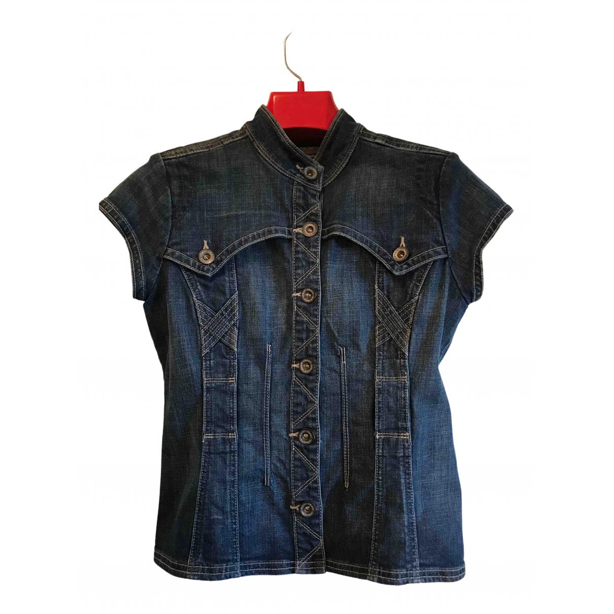Dkny N Blue Cotton  top for Women L International