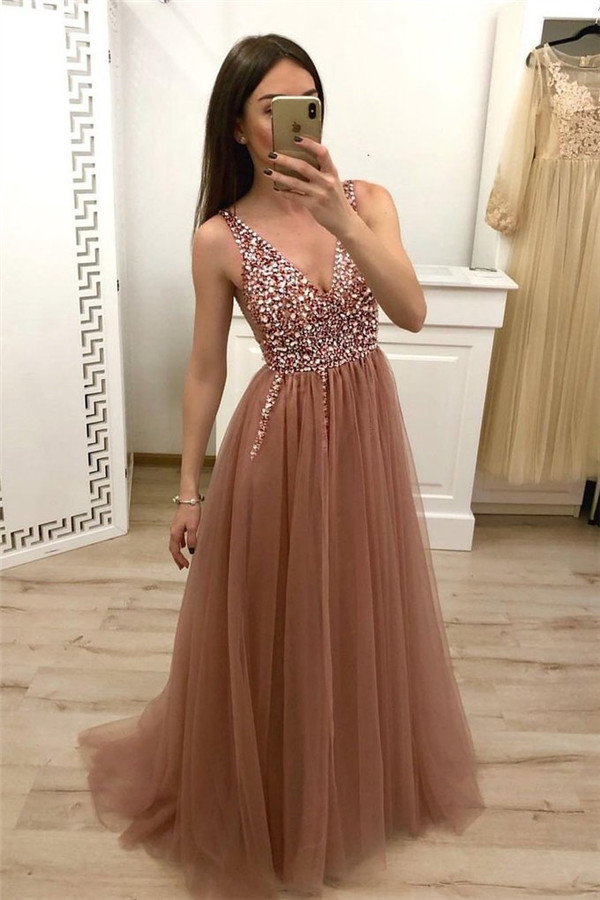 Simple Crystal Straps Shining Sequin Prom Dresses | Lace-Up Side slit Mermaid Sleeveless Sexy Evening Dresses