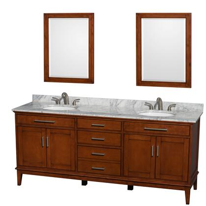 WCV161680DCLCMUNRM24 80 in. Double Bathroom Vanity in Light Chestnut  White Carrera Marble Countertop  Undermount Oval Sinks  and 24 in.