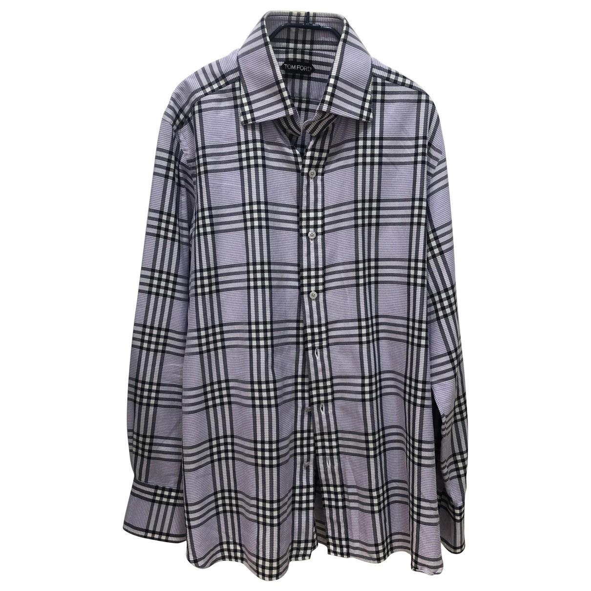 Tom Ford \N Grey Cotton Shirts for Men 17 UK - US (tour de cou / collar)