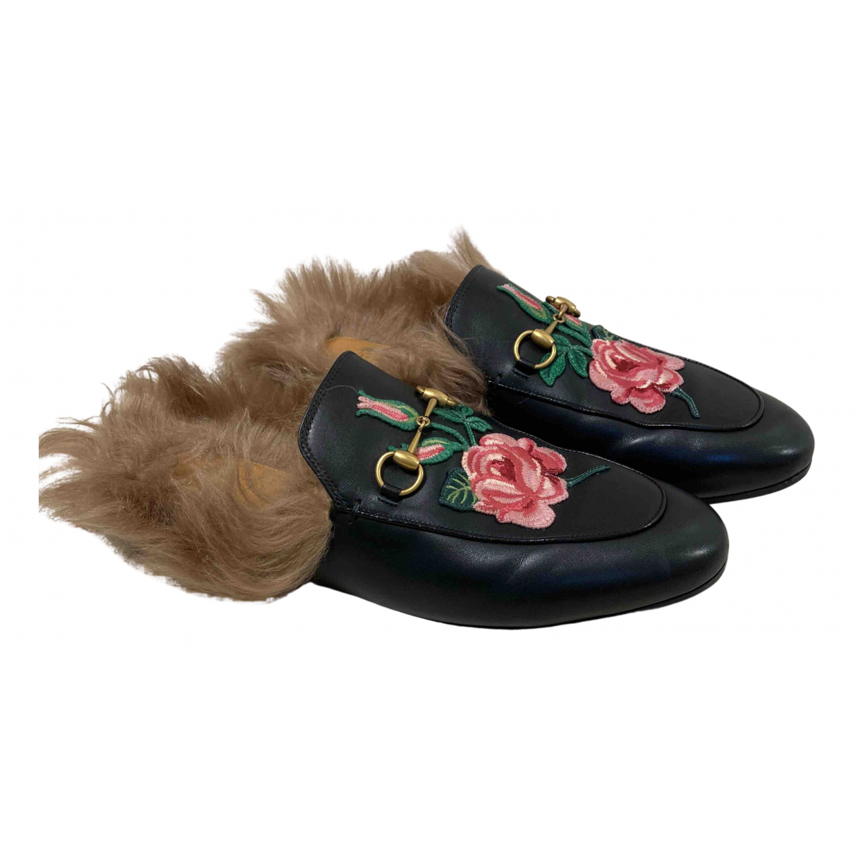 Gucci Princetown Black Leather Flats for Women 42 IT