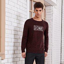 Men Letter Graphic Sweater