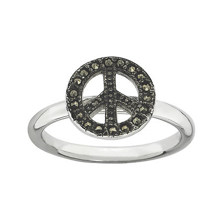 Personally Stackable Marcasite Sterling Silver Peace Sign Ring, 7 , No Color Family