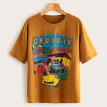 Camiseta de cuello redondo con estampado de coche y letra