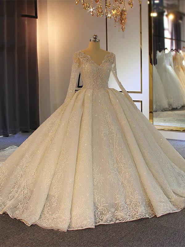 Vestidos de novia de manga larga con cuello en V y cuentas brillantes | Apliques de encaje de tul transparente Vestido de fiesta Vestidos de novia