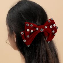 Rhinestone Decor Bow Design Hair Clip
