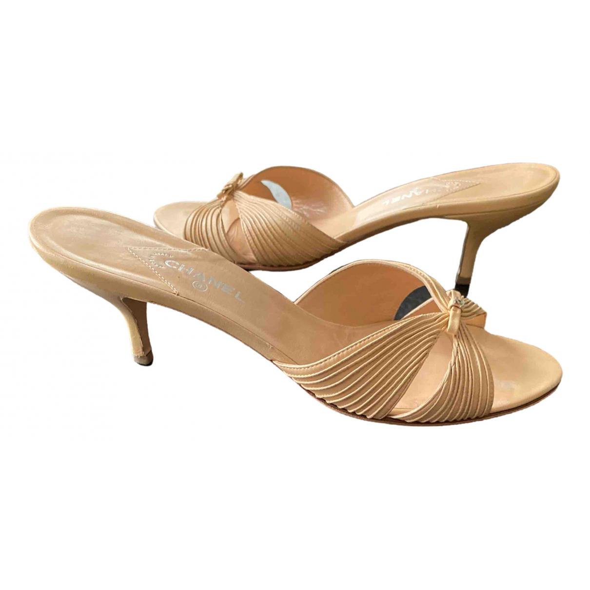 Chanel \N Beige Leather Sandals for Women 40.5 EU