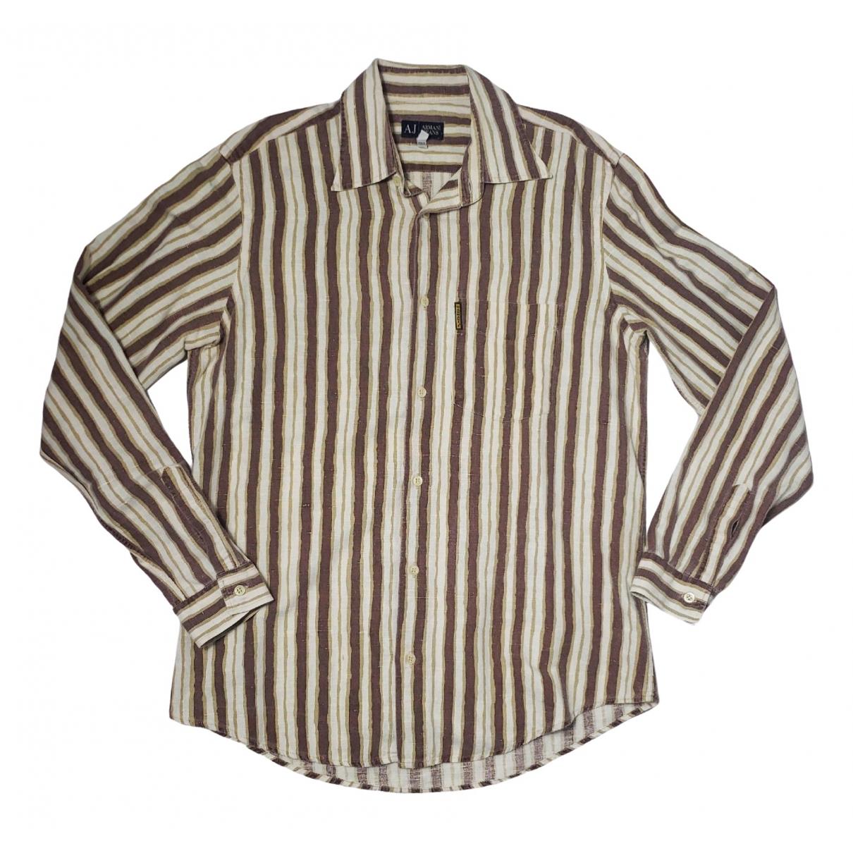 Armani Jean - Chemises   pour homme en lin - beige