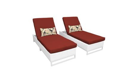 Miami MIAMI-2x-TERRACOTTA Set of 2 Outdoor Wicker Patio Chaise - Sail White and Terracotta