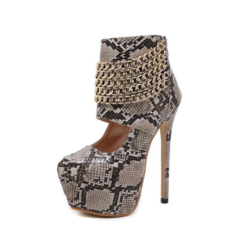 Ericdress Serpentine Chain Zipper Round Toe Women's Ankle Boots
