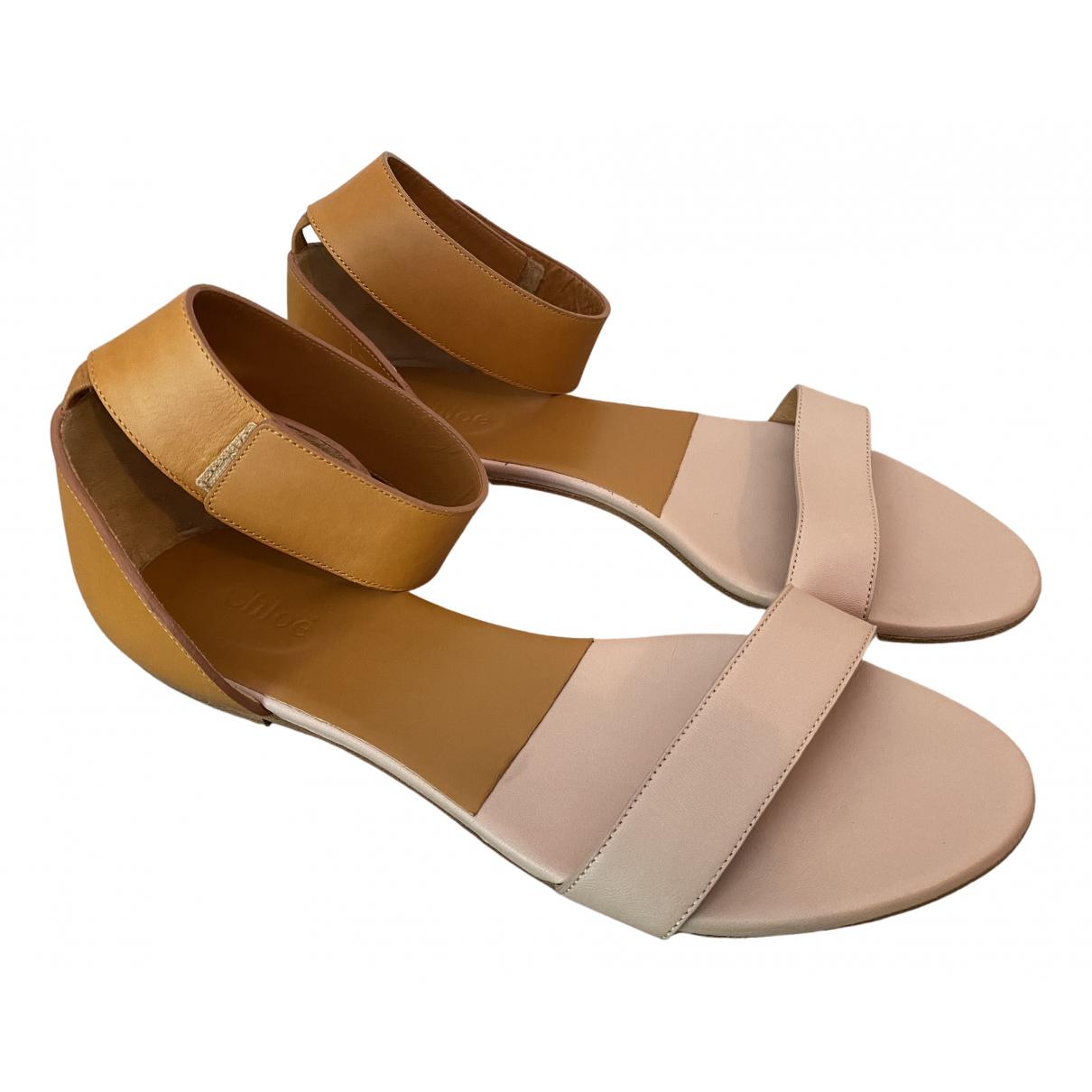 Chloe - Sandales   pour femme en cuir - beige