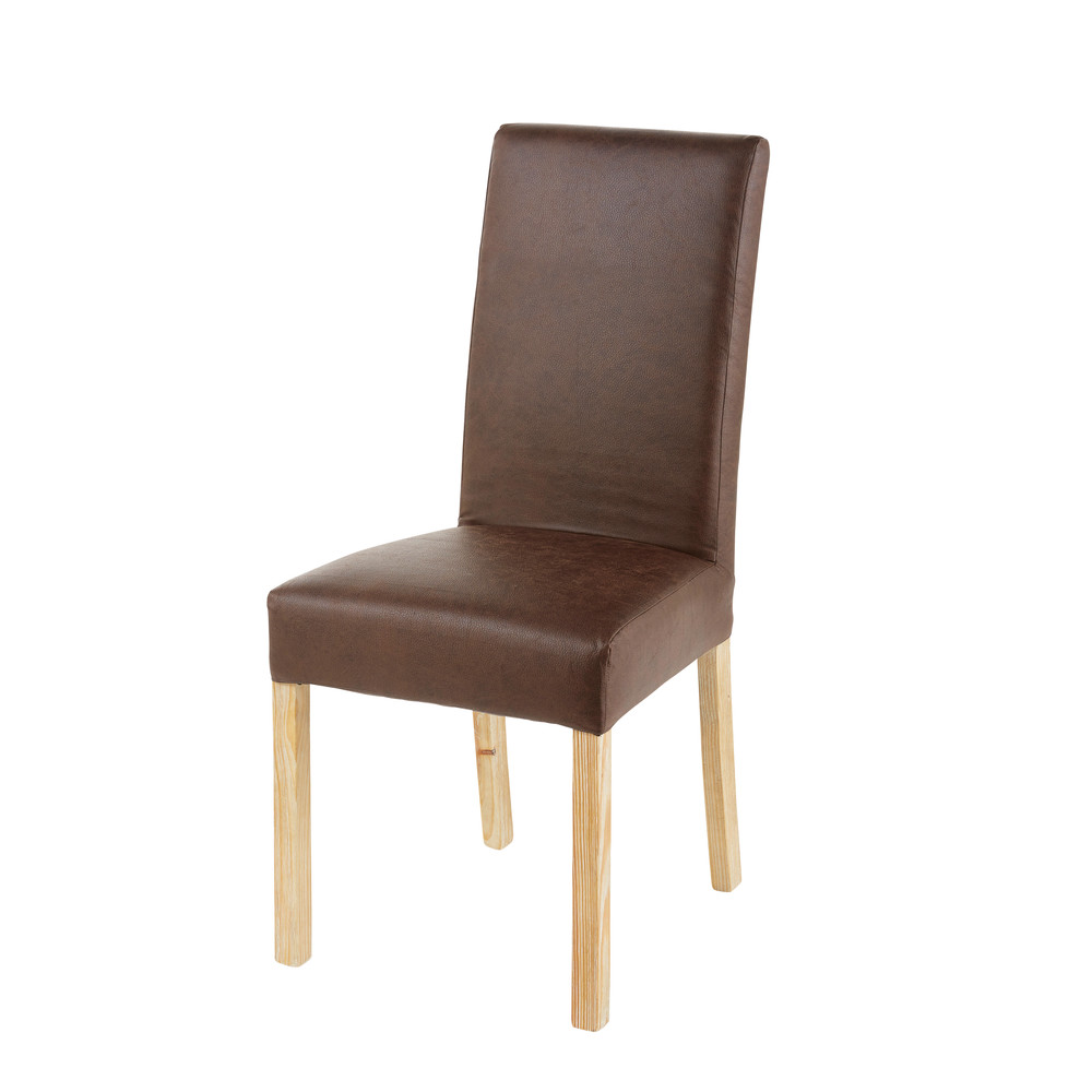 Stuhlbezug aus braunem Microsuede 41x70
