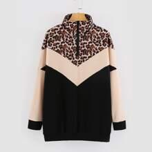 Sweatshirt mit Cut und Sew Einsatz, Leopard Muster und halbem Reissverschluss
