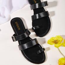 Toe Loop Buckle Decor Slide Sandals