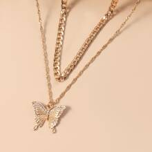 2pcs Gold Butterfly Charm Necklace