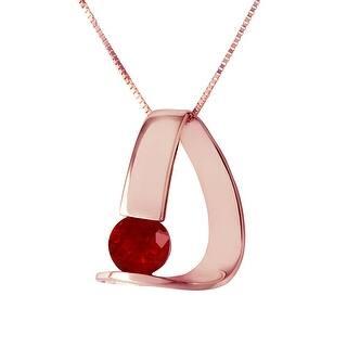1.50 Carat 14K Solid Gold Modern Elegant Necklace w/ Natural Ruby (16 Inch - Rose)