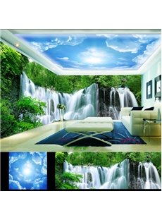 Blue Sky with Waterfall and Trees Pattern 3D Waterproof Ceiling and Wall Murals