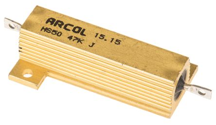 Arcol HS50 Series Aluminium Housed Axial Wire Wound Panel Mount Resistor, 47kΩ ±5% 50W