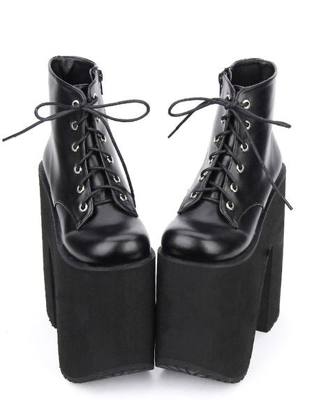 Milanoo Black Lolita Booties Platform Chunky Heel Round Toe Lace Up Lolita Short Boots