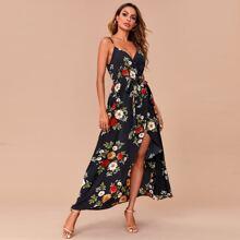 Wrap Tie Front Floral Print Slip Dress