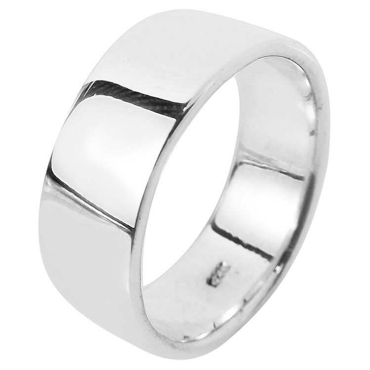 Handmade Simple 8mm Wide Plain Band Sterling Silver Ring (Thailand) (13 - White)