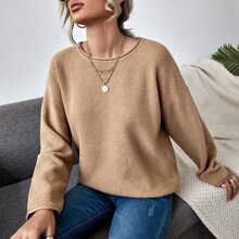 Drop Shoulder Waffelstrick Pullover
