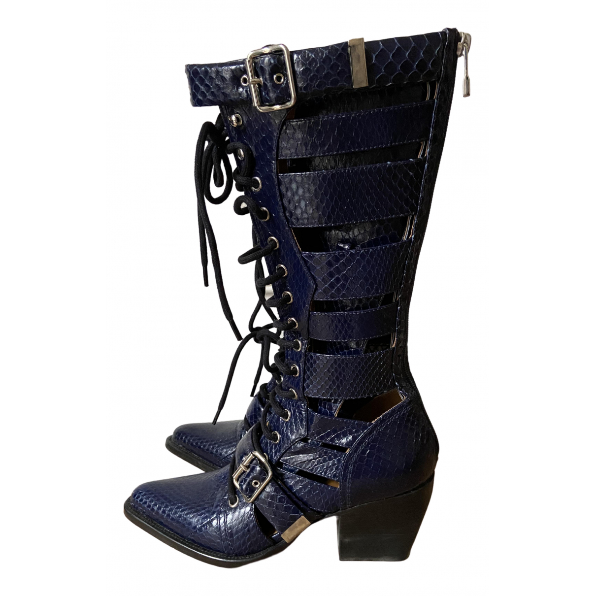 Chloe Rylee Stiefeletten in  Blau Lackleder