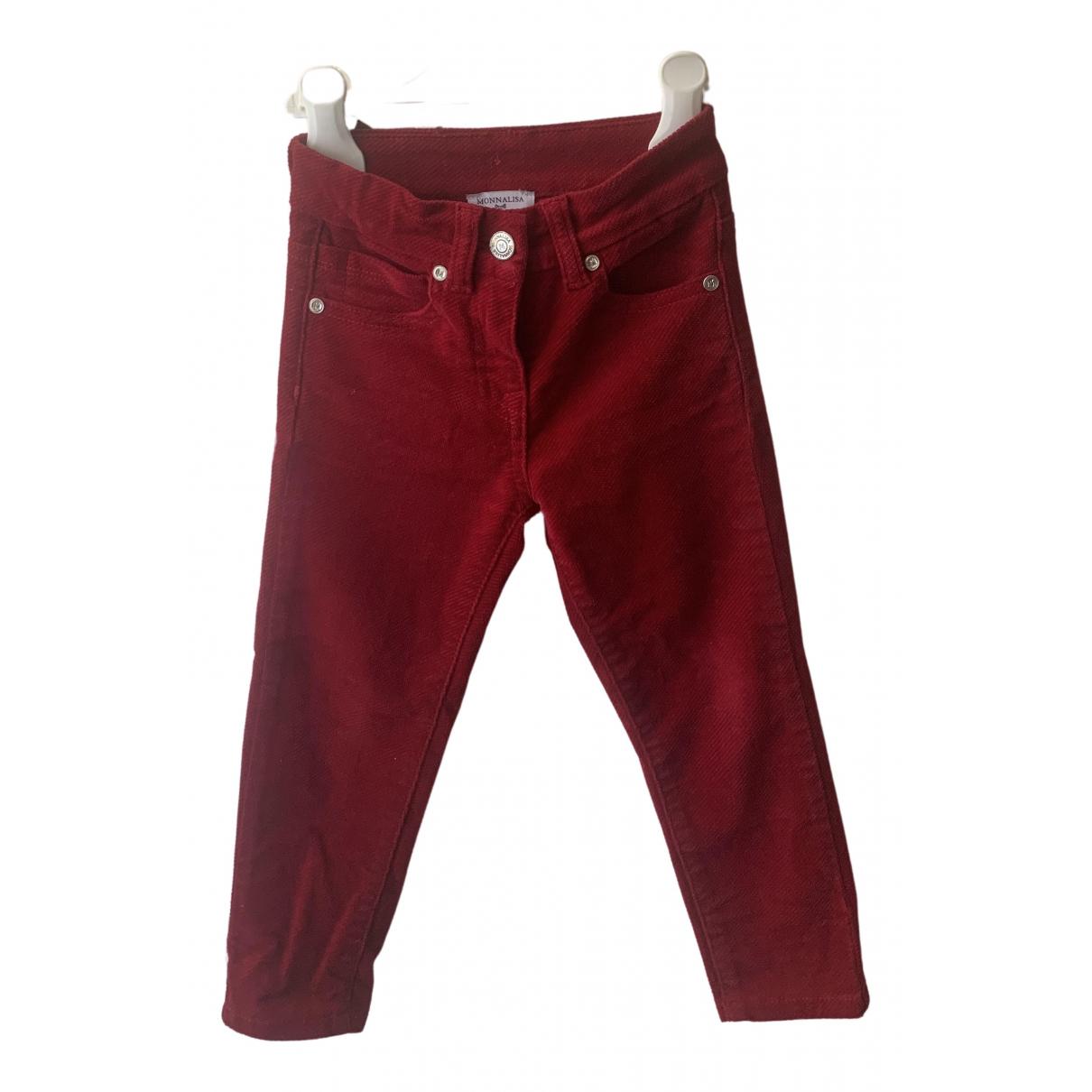 Monnalisa N Burgundy Velvet Trousers for Kids 4 years - until 40 inches UK