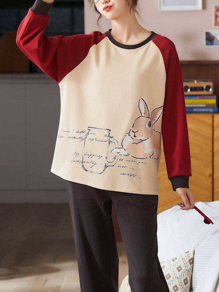 Women Cute Rabbit Print Cotton Round Neck Long Pajamas Sets